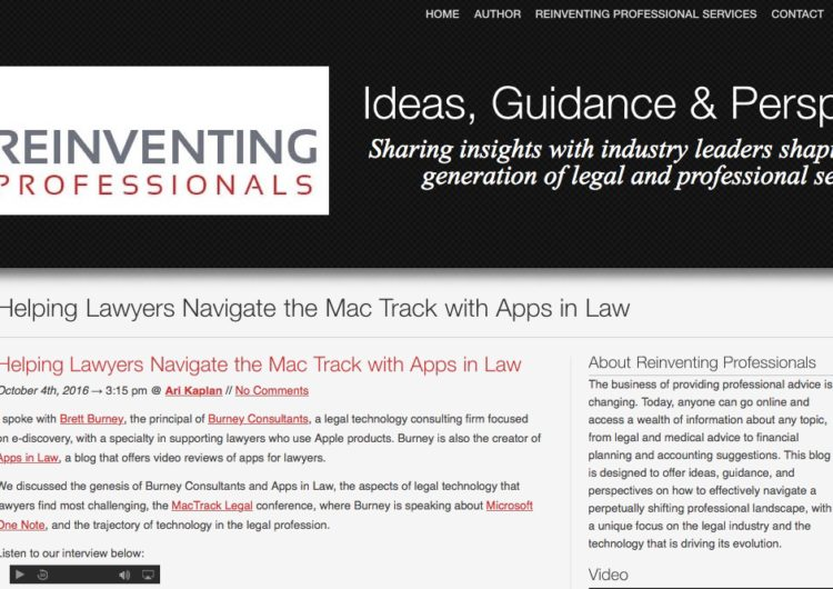 Reinventing Professionals-Helping Lawyers Navigate the Mac Track with Apps in Law